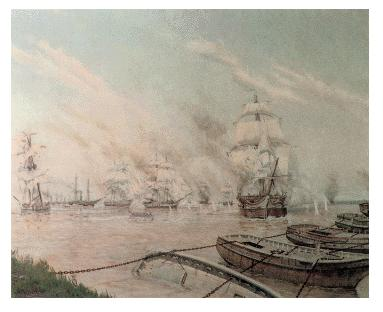 Barcazas con cadenas cortando el Paraná